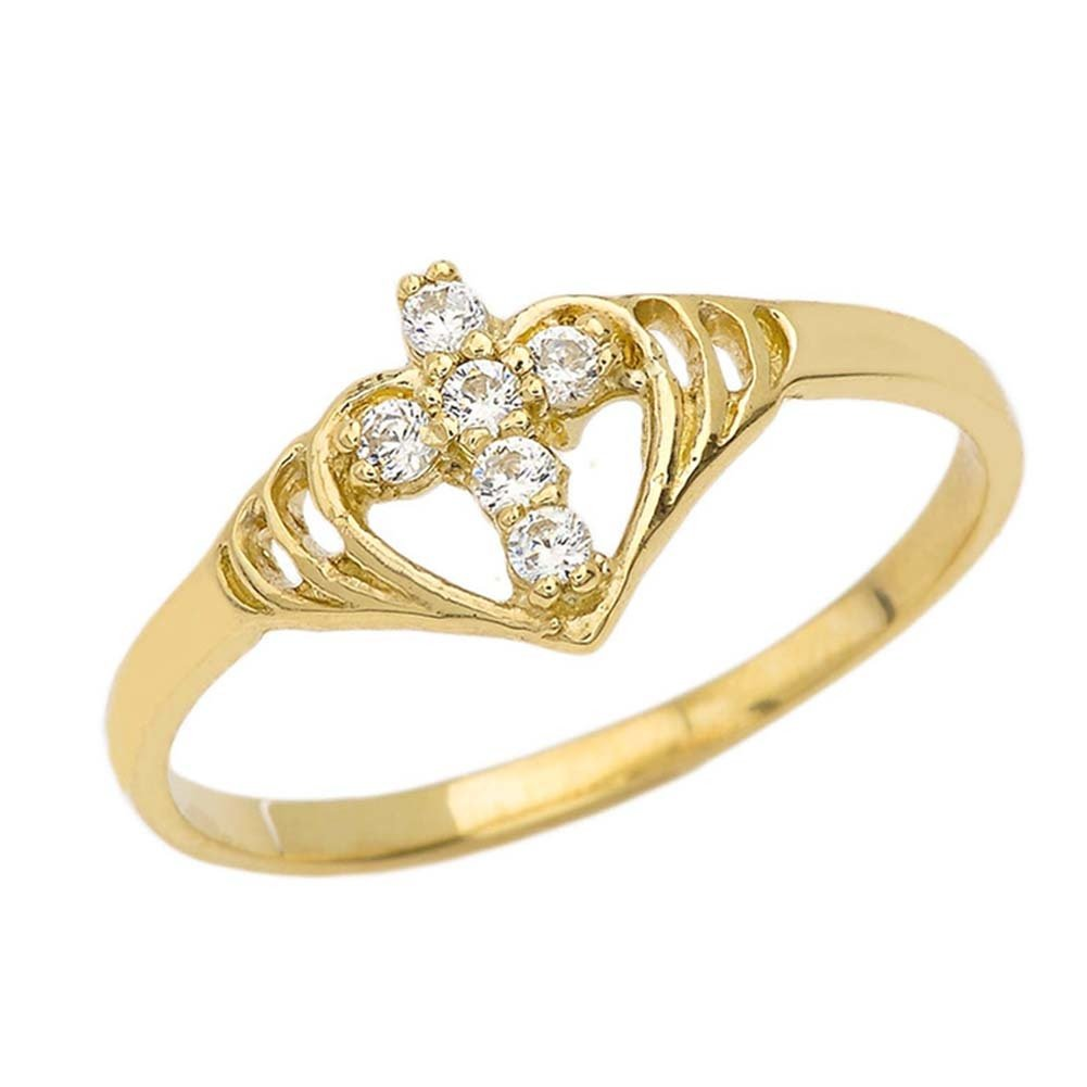 Unique 10k Yellow Gold CZ Studded Open Heart Cross Ring (Size 5)