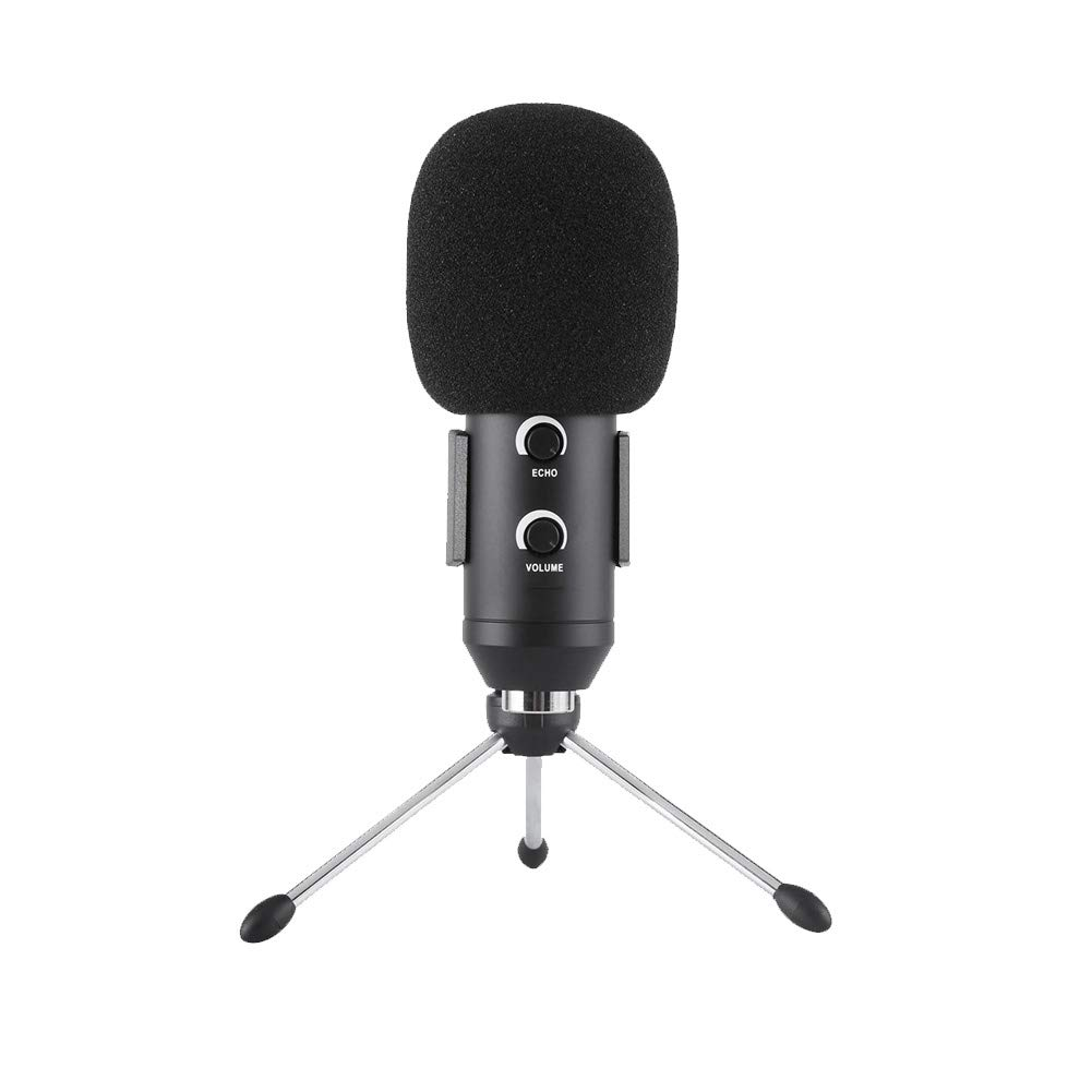MIKE-ZY USB-Microphone, PC Microphone, Plug and Play, Heart-Shaped, Desktop Stand, for Games, YouTube, Podcasts, Studio Recording, Online Chat, for PC, Laptop, Tablet/Black