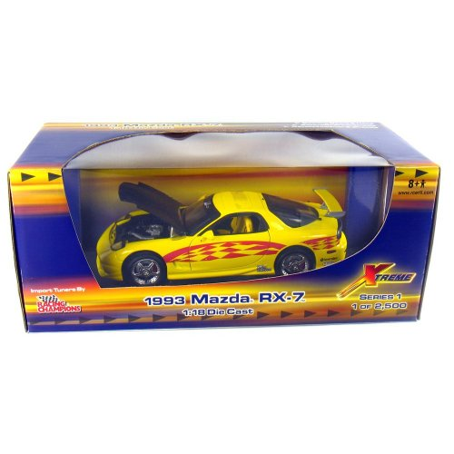 Rx Car 7 Mazda Red - 1993 Mazda RX-7 Import Tuners 1:18 Scale (Yellow/Red Graphics)