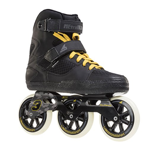 Rollerblade Metroblade 3WD Urban Design 3x110 85A Wheels Twincam ILQ Bearings, Black/Yellow, Size 10