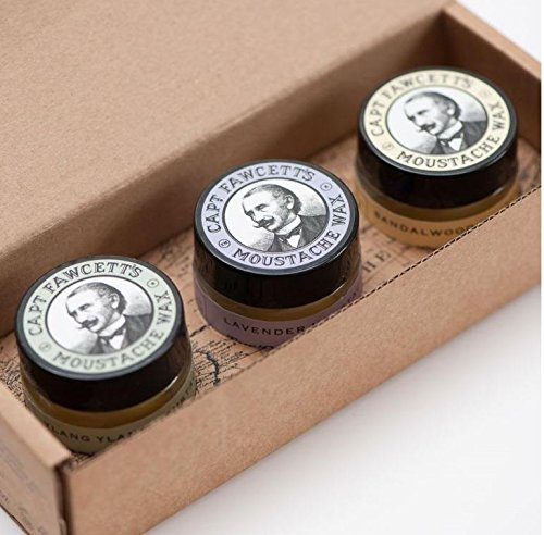 Captain Fawcett's Moustache Wax Cornucopia – 0.5oz (15ml) Jars, each of Lavender, Sandalwood & Ylang Ylang Moustache Wax