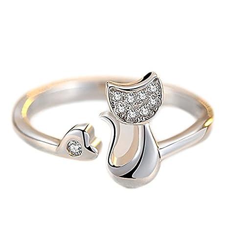 Anillo milopon Mujer Anillos Mode elegante circonitas cristal abierto Gatos Anillo ajustable dedos Decoración Accesorios