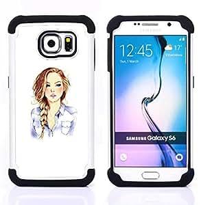 """Samsung Galaxy S6 / SM-G920 - 3 en 1 impreso colorido de Altas Prestaciones PC Funda chaqueta Negro cubierta gel silicona suave (Fashion Girl Minimalista Blanca Cabello"""")"""