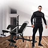Vividy Multi-Function Olympic Workout Bench Adjustable Professional Workout Bench set with Preacher Curl, Leg Developer for Home Indoor Fitness Exercise