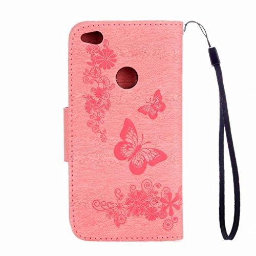 Yiizy Huawei P8 Lite (2017) / Honor 8 Lite /Nova Lite Custodia Cover, Farfalla Fiore Design Sottile Flip Portafoglio PU Pelle Cuoio Copertura Shell Case Slot Schede Cavalletto Stile Libro Bumper Prote