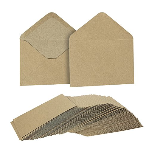 Kraft Envelopes Bulk - 100-Count 4.5 x 6.25 Inch Invitation Envelopes, Kraft Paper Envelopes for 4 x 6 Inch Wedding, Baby Shower, Party Invitations, Photo Envelopes, Brown, 4 1/2 x 6 1/4 Inches