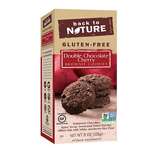 Back to Nature Non-GMO Cookies, Gluten-Free Double Chocolate Cherry Brownie, 8 Ounce (Free Chocolate Cholesterol Cookies)