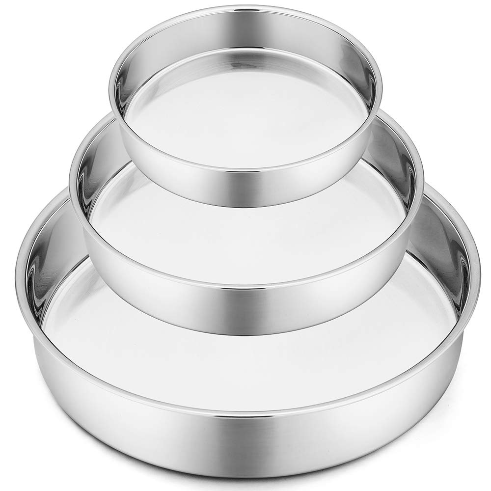 "Round Cake Pans, 3 Piece (8"" & 9½"" & 11""), P&P CHEF Stainless Steel Bakeware Cake Pan, Easy Releasing & Cleaning, Oven & Dishwasher Safe"