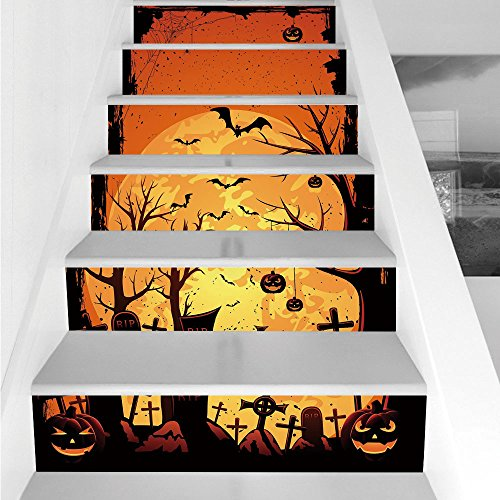 Stair Stickers Wall Stickers,6 PCS Self-adhesive,Halloween,Grungy Graveyard Cemetery Necropolis with Bats Pumpkins Crosses Cobweb Decorative,Orange Brown Black,Stair Riser Decal for Living Room, Hall, for $<!--$26.66-->