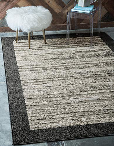 Unique Loom Outdoor Modern Collection Carved Border Transitional Indoor and Outdoor Flatweave Beige  Area Rug (4' 0 x 6' 0) ()