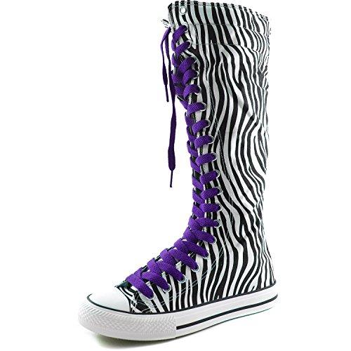 separation shoes 4721b aae73 Dailyshoes Femmes Toile Mi-mollet Bottes Hautes Casual Sneaker Punk Plat,  Bottes Zèbre,. chaussures ...