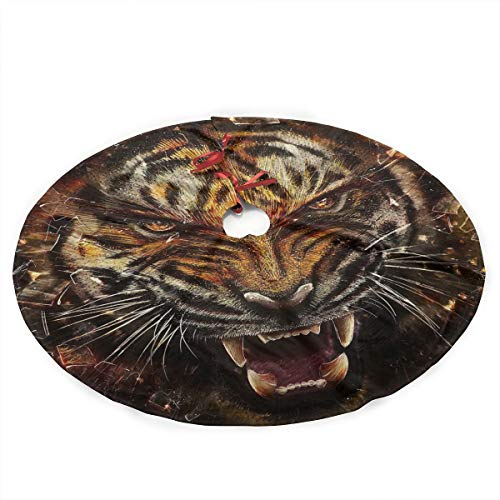 Grtswp Luxury Soft Snow Christmas Tree Skirt Tiger Huff Holiday Print Tree Skirt Holiday Ornament(Diameter :90 Cm/35.5 ()