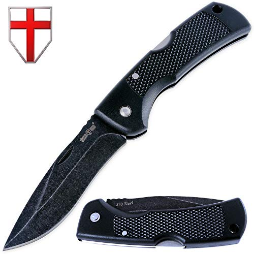 Folding Blade Knife - Cheap EDC and Tactical Pocket Knifes Stainless Steel Blade &Plastic Handle - Best Urban Tourist Knife under 10 dollars with Back-lock for Travel Hiking Survival - Grand Way 5296