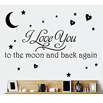 LOVE Quotes Wall Decor Wall Art I LOVE YOU To The Moon And Back Black Words