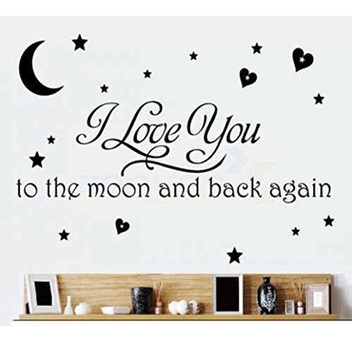 I LOVE YOU TO THE MOON AND BACK VINYL WALL DECAL HOME DECOR-Black