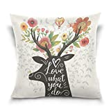 Top Carpenter Love What You Do Velvet Plush Throw Pillow Cushion Case Cover - 18'' x 18'' - Invisible Zipper Home Decor Floral for Couch Sofa No Pillow Insert