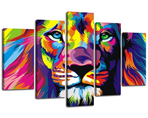 Colorful Canvas (NAN Wind 5Pcs Colorful Animal Wall Art Lion Canvas Lion Painting Animal Oil Painting Pictures Art Print On The Canvas Stretched and Framed Ready to Hang Wall Art Creative Home Decorators)