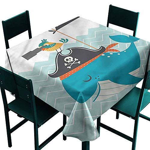 DONEECKL Polyester Tablecloth Sea Life Ahoy Whale Pirates Hat Excellent Durability W60 xL60
