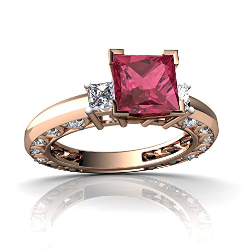 14kt Gold Pink Tourmaline and Diamond 6mm Square Art Deco Ring