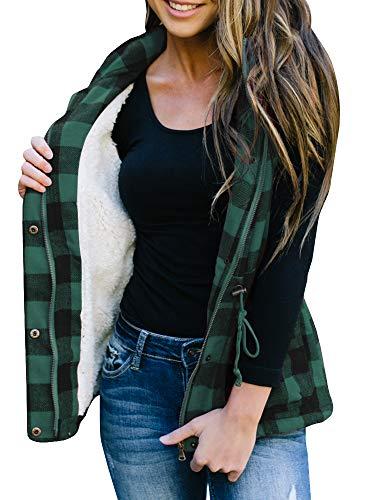 (Women's Winter Buffalo Plaid Jacket Vest with Sherpa Fleece Lining)