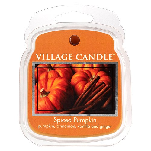 Village Candle 106101316 Cire Fond avec Motif Spiced Pumpkin Orange 8, 8 x 7, 3 x 2, 7 cm