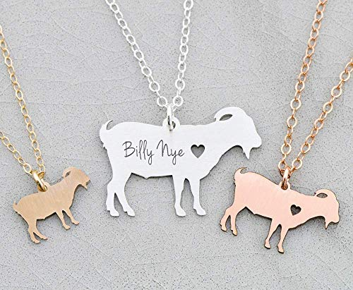 - Goat Necklace - IBD - Billy Pygmy - Personalize Name Date - Pendant Size Options - 935 Sterling Silver 14K Rose Gold Filled