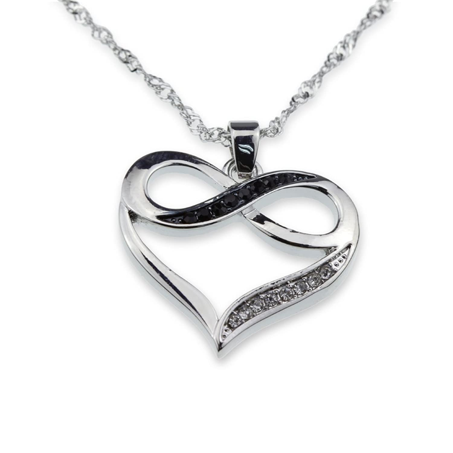 Amazon Silver Tone Infinity Crystal Accent Heart Black White
