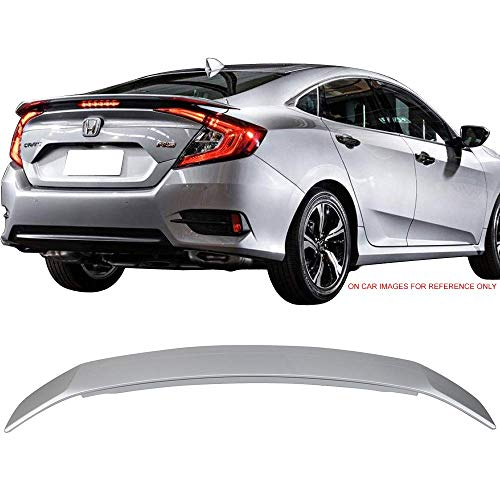 Pre-painted Trunk Spoiler Fits 2016-2018 Honda Civic | JDM RS Style #NH19830M Lunar Silver Metallic With 3RD LED Boot Lip Rear Spoiler Wing Deck Lid Other Color Available By IKON MOTORSPORTS | 2017
