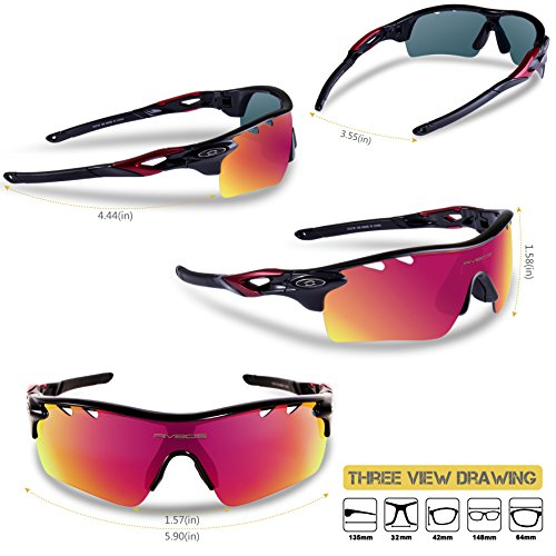 6a8bc82c81c RIVBOS 801 Polarized Sports Sunglasses Sun Glasses with 5 Interchangeable Lenses  for Men Women Baseball Cycling