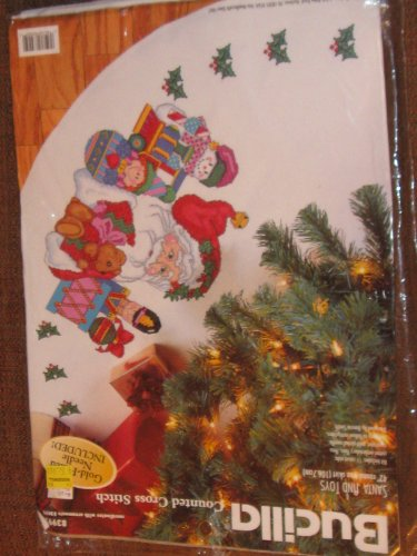 Bucilla Counted Cross Stitch Santa and Toys Christmas Tree Skirt, 42 Inches
