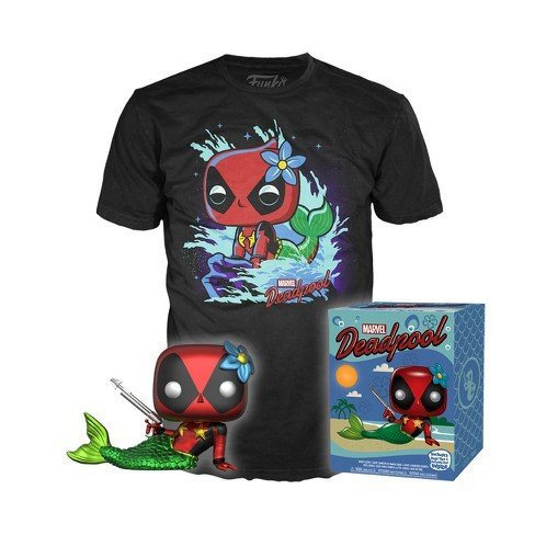 Pop Marvel Collectors Box: Metallic Deadpool Mermaid Tee (Small)