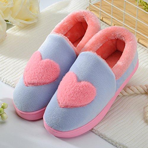 Y-Hui macho invierno zapatillas de algodón en muebles para el hogar zapatos de interior cálido invierno hembra grueso inferior antideslizante par botas,36-37 (apto para 35-36 pies),Azure (Amor)