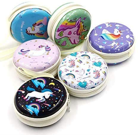 Prezzie Villa Round Storage Zipper Case Pouch Bag for Earphone/USB/Pendrive Carry Multipurpose Use Gifts for Girls/Return Gift for Birthday/Kids/Unisex – Assorted Colour/Design – 6 Pieces – Unicorn