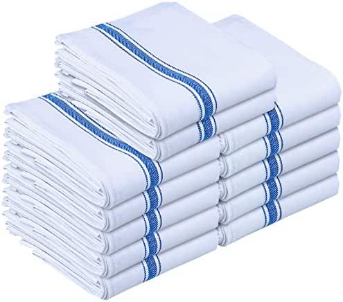 Kitchen Towels Dish Cloth (12 Pack) Machine Washable Cotton White Kitchen Dishcloths Towel Tea Towels (15 x 25 Inch) by Utopia Towels