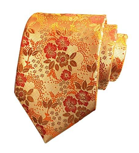 L04BABY New Men's Classic Orange Red Floral Jacquard Woven Silk Ties Necktie - Red Woven Silk Necktie