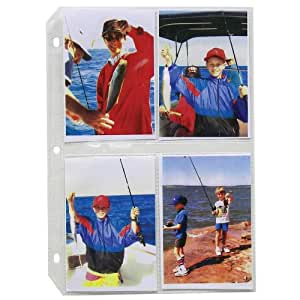 C-Line Ring Binder Photo Storage Pages for 3.5 x 5 Inch Photos, Top Load, 8 Photos/Page, 50 Pages per Box (52584)