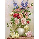 WM & MW 5D Diamond Painting by Number Kits, Flower Vase DIY Rhinestone Pasted Embroidery Paintings Pictures Arts Craft for Wall Home Decor (B)