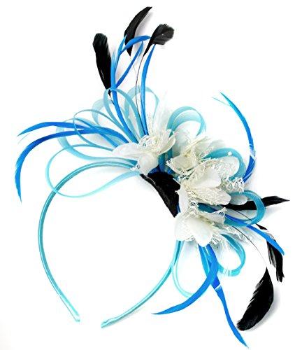 Aqua Bleu bleuet CREOLE plume et filet crème pour Cheveux Serre Tete mariage Royal Ascot courses