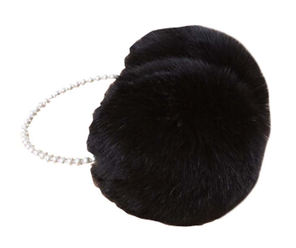 [White] Ear Warmer With Bead Frame Winter Ear Protector Fur Earmuffs
