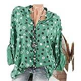 Easytoy Women Loose Tops, Ladies Plus Size Dot Print Henley V Neck Long Sleeve Shirts Blouse (Army Green, XXXL)