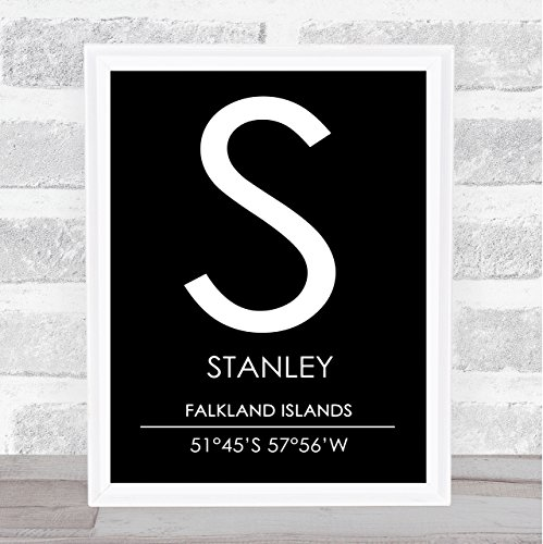 Stanley Falkland Islands Coordinates Black & White Travel Quote Poster Print ()