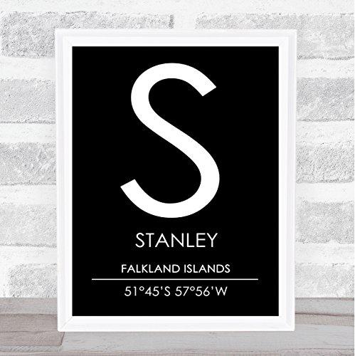 (Stanley Falkland Islands Coordinates Black & White Travel Quote Poster Print )