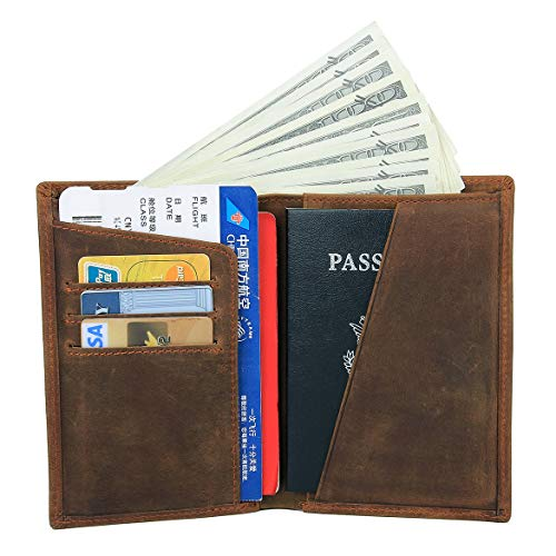 (Men's Functional RFID Blocking Leather Passport Holder Travel Bifold Wallet (Light)
