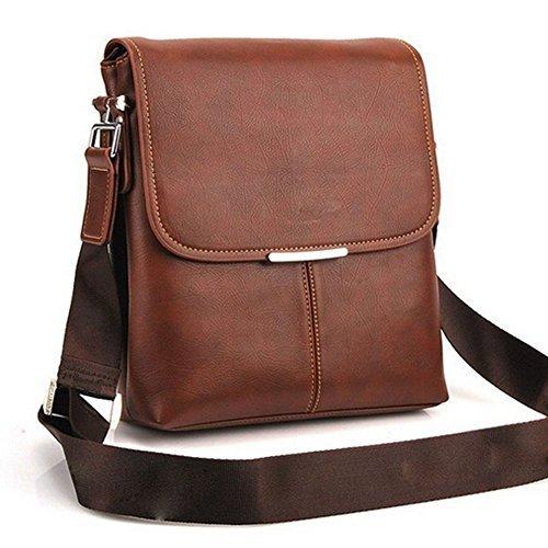 Man Brown Shoulder Bag Handbag Laptop Bags Composite Leather Casual Bag ()