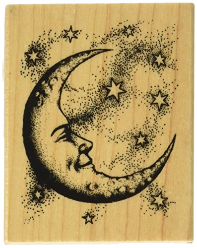"Inkadinkado Mounted Rubber Stamp 2.5""X2"", Crescent Moon"