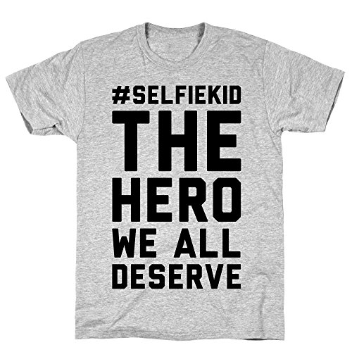 LookHUMAN #Selfiekid The Hero We All Deserve Small Athletic Gray Men's Cotton Tee ()