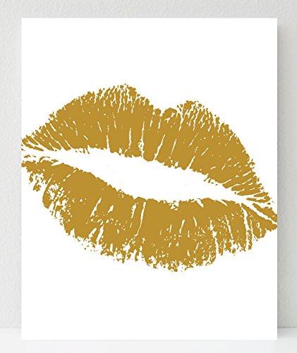 UNFRAMED Gold Lips Fashion Wall Print 8