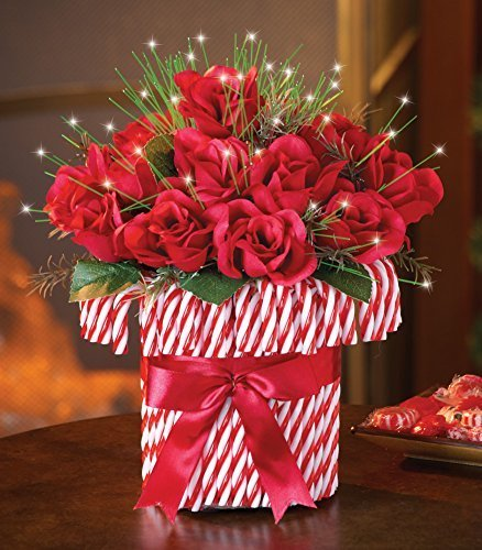 Lighted Bouquet (Lighted Candy Cane Floral Bouquet Centerpiece Display Christmas Holiday)