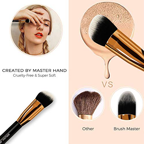Brush Master(TM) Makeup Brushes Premium Makeup Brush Set Synthetic Kabuki Cosmetics Foundation Blending Blush Eyeliner Face Powder Brush Makeup Brush Kit (10pcs, Golden Black)