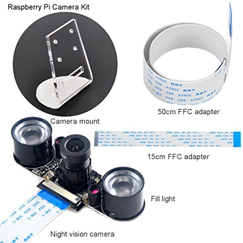 Makerfocus Raspberry Pi Camera Night Vision Camera Adjustable-Focus Module 5MP OV5647 Webcam Video 1080p and 15CM 50CM FFC Adapter Cables and Camera Mount